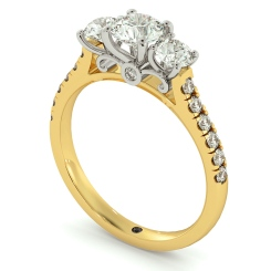 HRRTR732 Round cut Designer 3 Stone Diamond Engagement Ring - yellow