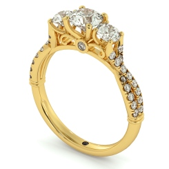 HRRTR734 Round cut Twisted Shoulders 3 Stone Diamond Engagement Ring - yellow