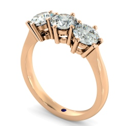 HRRTR90 3 Round Diamonds Trilogy Ring - rose
