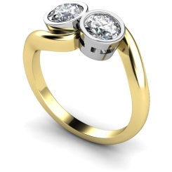 HRRTW85 Twin Round Diamond Ring - yellow