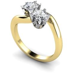 HRRTW86 Twin Round Diamond Ring - yellow
