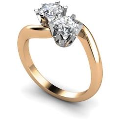 HRRTW86 Twin Round Diamond Ring - rose