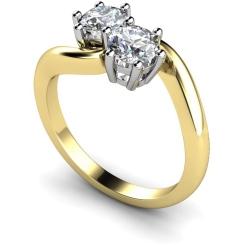 HRRTW87 Twin Round Diamond Ring - yellow