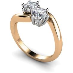 HRRTW87 Twin Round Diamond Ring - rose