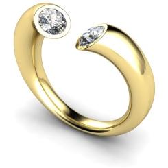 HRRTW88 Twin Round Diamond Ring - yellow