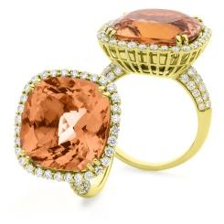 HRXGMG1137 Designer Pave Morganite & Diamond Single Halo Ring - yellow