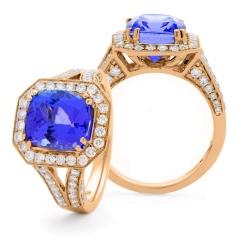 HRXGTZ1110 Split Shank Tanzanite & Diamond Vintage Design Halo Ring - rose