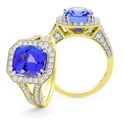 HRXGTZ1110 Split Shank Tanzanite & Diamond Vintage Design Halo Ring - yellow