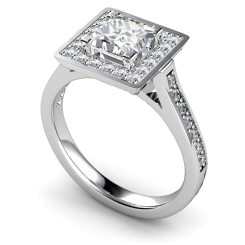 HRXSD249 Princess Halo Diamond Ring - white