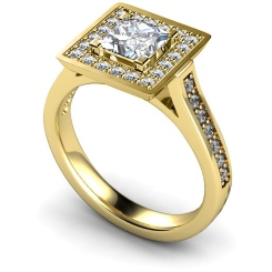 HRXSD249 Princess Halo Diamond Ring - yellow