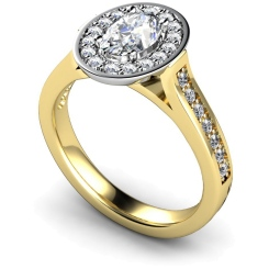 HRXSD251 Oval Halo Diamond Ring - yellow