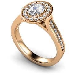HRXSD251 Oval Halo Diamond Ring - rose