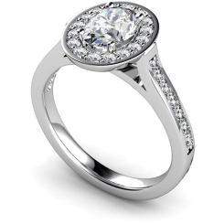 HRXSD251 Oval Halo Diamond Ring - white