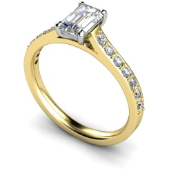 HRXSD338 Emerald Shoulder Diamond Ring - yellow