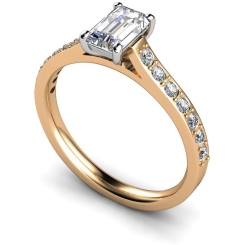HRXSD338 Emerald Shoulder Diamond Ring - rose