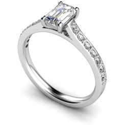 HRXSD338 Emerald Shoulder Diamond Ring - white