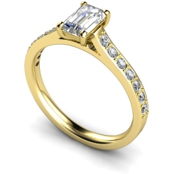 HRXSD338 Emerald Shoulder Diamond Ring - yellow