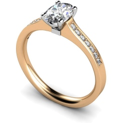 HRXSD449 Oval Shoulder Diamond Ring - rose