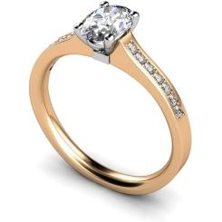 HRXSD449 Oval Shoulder Diamond Ring - rose
