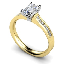 HRXSD451 Four Claws Emerald cut Shoulder Diamond Ring - yellow