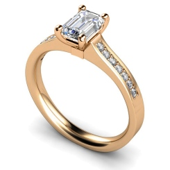 HRXSD451 Four Claws Emerald cut Shoulder Diamond Ring - rose