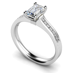 HRXSD451 Four Claws Emerald cut Shoulder Diamond Ring - white