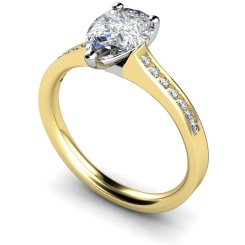 HRXSD452 Pear Shoulder Diamond Ring - yellow