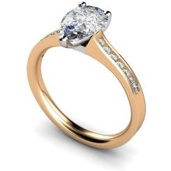 HRXSD452 Pear Shoulder Diamond Ring - rose