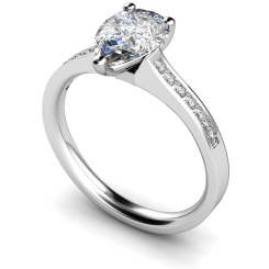HRXSD452 Pear Shoulder Diamond Ring - white