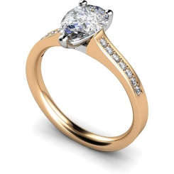 HRXSD453 Pear Shoulder Diamond Ring - rose