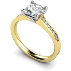 HRXSD454 Princess Shoulder Diamond Ring - yellow