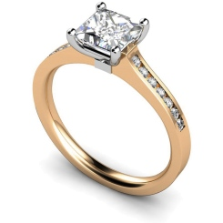 HRXSD454 Princess Shoulder Diamond Ring - rose