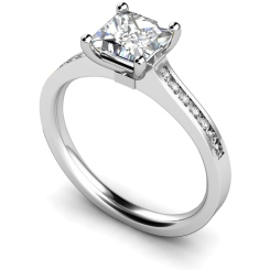 HRXSD454 Princess Shoulder Diamond Ring - white