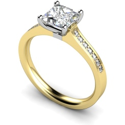 HRXSD455 Princess Shoulder Diamond Ring - yellow