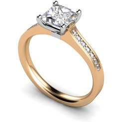 HRXSD455 Princess Shoulder Diamond Ring - rose