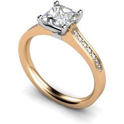 HRXSD455 Princess Shoulder Diamond Ring - rose