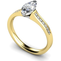 HRXSD473 Two Prongs Marquise Cut Shoulder Diamond Ring - yellow