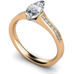HRXSD473 Two Prongs Marquise Cut Shoulder Diamond Ring - rose