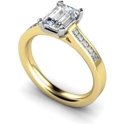HRXSD540 Emerald Shoulder Diamond Ring - yellow