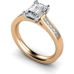 HRXSD540 Emerald Shoulder Diamond Ring - rose