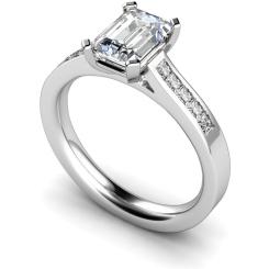 HRXSD540 Emerald Shoulder Diamond Ring - white