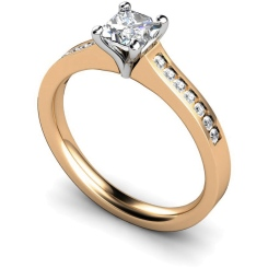 HRXSD570 Princess Shoulder Diamond Ring - rose