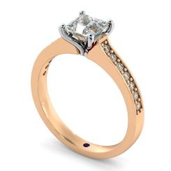 HRXSD580 V Prongs Princess cut  Diamond Ring with Grain Set Accent stones - rose