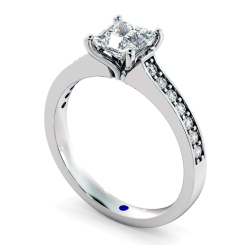 HRXSD580 V Prongs Princess cut  Diamond Ring with Grain Set Accent stones - white