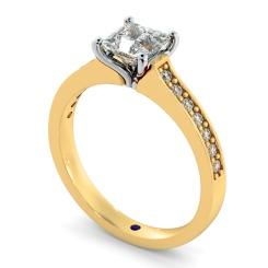 HRXSD580 V Prongs Princess cut  Diamond Ring with Grain Set Accent stones - yellow