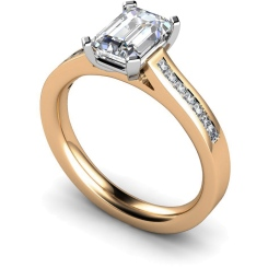 HRXSD585 Emerald Shoulder Diamond Ring - rose