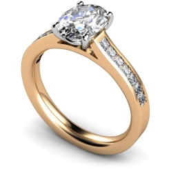 HRXSD586 Oval Shoulder Diamond Ring - rose