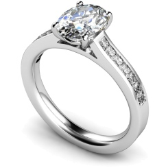 HRXSD586 Oval Shoulder Diamond Ring - white