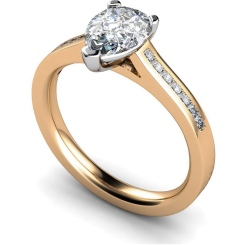 HRXSD606 Pear Shoulder Diamond Ring - rose