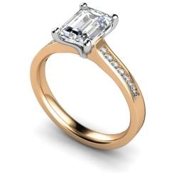 HRXSD609 Emerald Shoulder Diamond Ring - rose